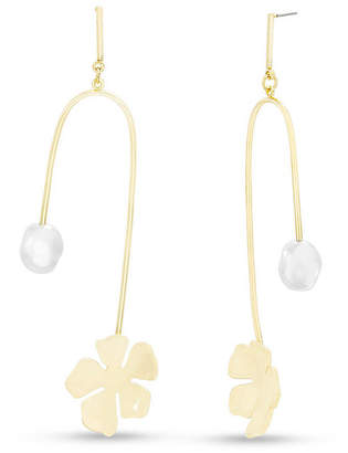 Steve Madden Women Simulated Pearl Abstract Flower Gold-Tone Drop Post Earrings