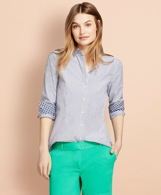 Brooks Brothers Striped Stretch Cotton Poplin Shirt