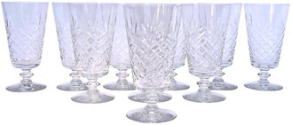 One Kings Lane Vintage Cut-Crystal Footed Water Goblets - Set of 10 - Cannery Row Home
