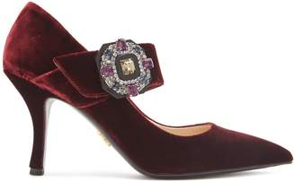 Crystal-buckle velvet Mary-Jane pumps