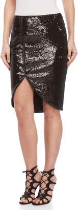 Halston Sequin Cutaway Pencil Skirt