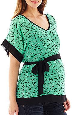 JCPenney Asstd National Brand Maternity Dolman-Sleeve Belted Top