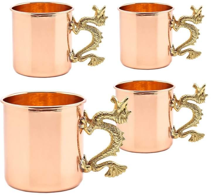 Old Dutch 4-pc. Solid Copper Dragon Handle Mug Set