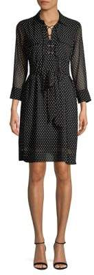 T Tahari Polka-Dot Lace-Up Shirt Dress