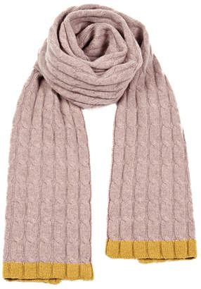 Cashmerism Hint of Mustard Cable Knitted Scarf