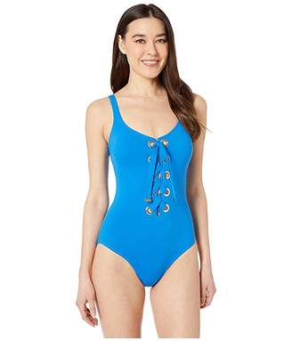 MICHAEL Michael Kors Stripe Lace-Up Front One-Piece with Grommets Removeable Soft Cup