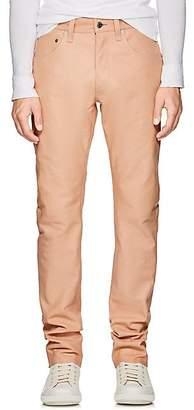 Helmut Lang Men's Leather High-Rise Straight-Leg Jeans - Beige, Tan