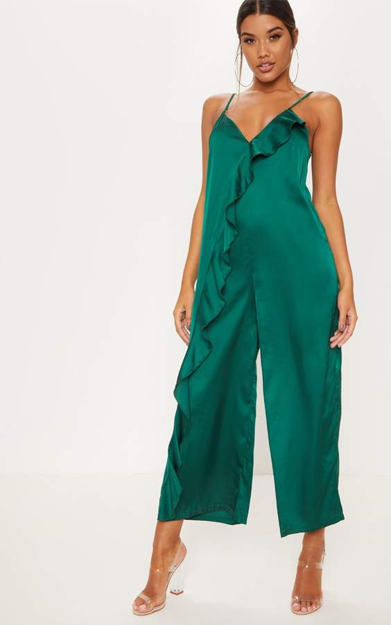 Emerald Green Satin Strappy Oversized Culotte Jumpsuit