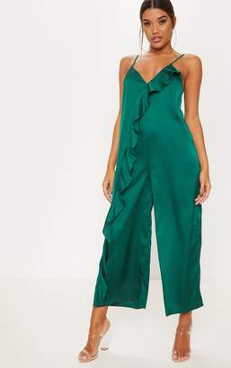 PrettyLittleThing Emerald Green Satin Strappy Oversized Culotte Jumpsuit