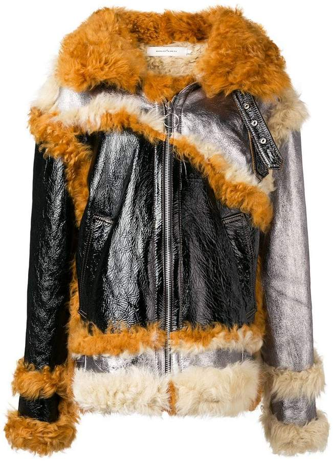Marques'almeida patchwork shearling lined jacket