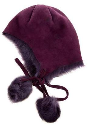 Barneys NY Kids Girls' Shearling Pompom Hat