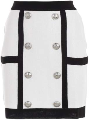 Balmain Button Embellished Mini Skirt
