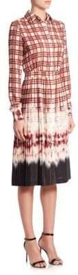Altuzarra Maria Pleated Plaid & Tie-Dye Shirtdress