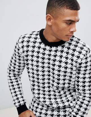 New Look sweater in black dogstooth print