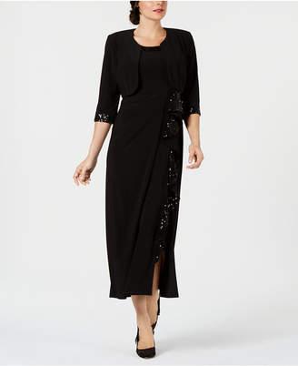R & M Richards Sequin-Embellished Dress & Jacket