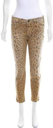 Current/Elliott Leopard Printed Mid-Rise Jeans
