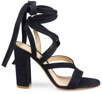 Gianvito Rossi Denim Lace-Up Gladiator Sandals