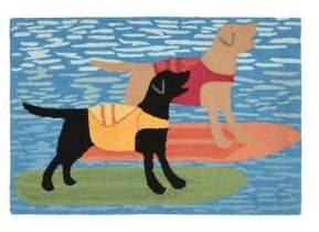Liora Manné Frontporch Surfboard Dogs Indoor and Outdoor Rug