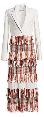 3.1 Phillip Lim Women's Tiered Tweed Fringe Tailored Blazer Maxi Dress