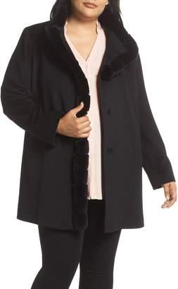 62f5381177577 Fleurette Loro Piana Wool Car Coat with Genuine Rex Rabbit Fur Trim