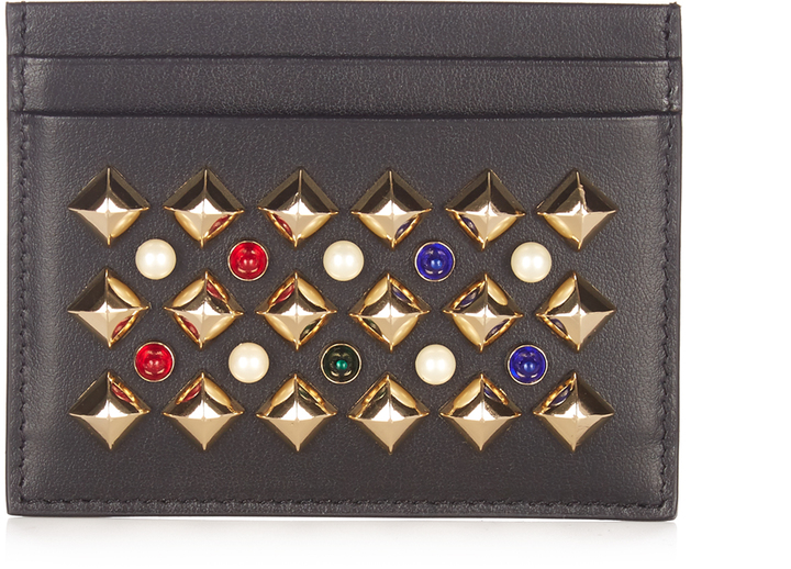 Christian Louboutin CHRISTIAN LOUBOUTIN Panettone spike-embellished leather cardholder