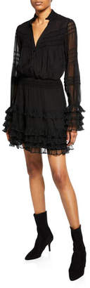 Alexis Shannon Smocked Ruffle Silk Dress