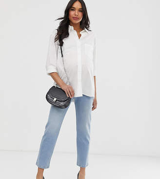 Asos DESIGN Maternity Florence authentic straight leg jeans in low stretch denim in light vintage wash with side bump ba