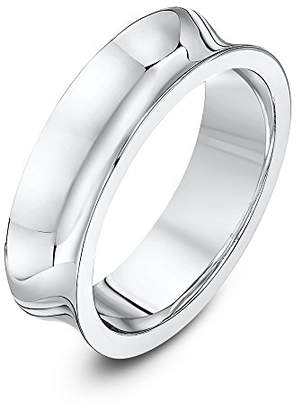 Theia Palladium 950 - Heavy Weight, Concave Shape, 6mm, Highly Polished Wedding Ring - Size V
