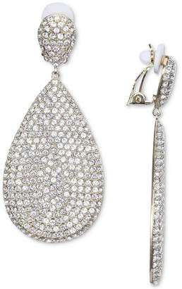Nina Silver-Tone Pave Clip-On Drop Earrings