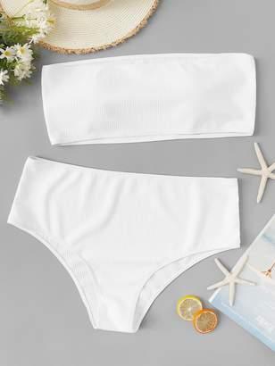 b8cc85a278 Shein Plus Bandeau With High Waist Bikini Set
