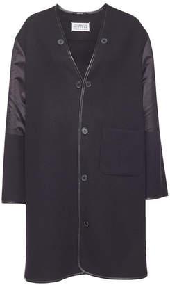 Maison Margiela Wool Coat with Satin Inserts