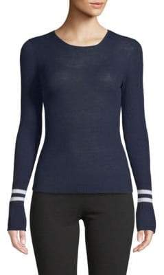 Vince Ribbed Striped-Cuffs Wool Pullover