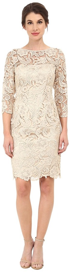 Adrianna Papell Adrianna Papell 3/4 Sleeve Guipure Cocktail Dress
