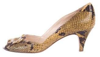 Loeffler Randall Snakeskin Peep-Toe Pumps