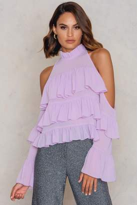 boohoo Ruffle Cold Shoulder Blouse Lilac
