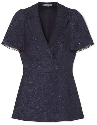 Lela Rose Frayed Sequin-embellished Tweed Peplum Top - Navy