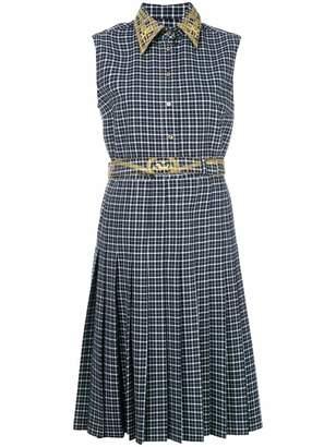 Thom Browne plaid embroidered shirt dress