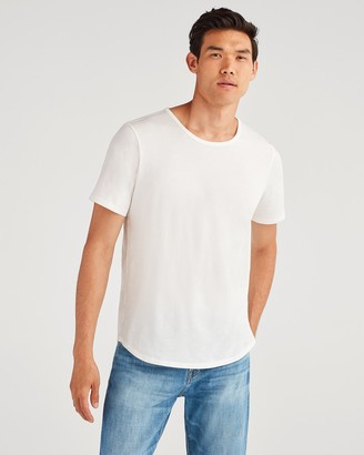 7 For All Mankind Roamer Crew Tee in Hi-Lo White