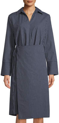 Evidnt Wrap-Front Striped Shirtdress