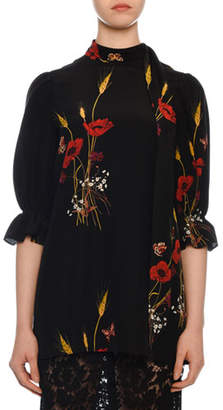 Valentino Short-Sleeve Puff-Shoulder Crepe de Chine Floral-Print Blouse