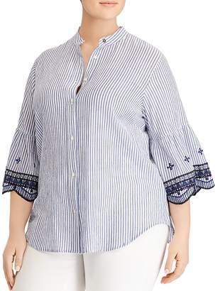 Lauren Ralph Lauren Plus Striped Bell-Sleeve Shirt