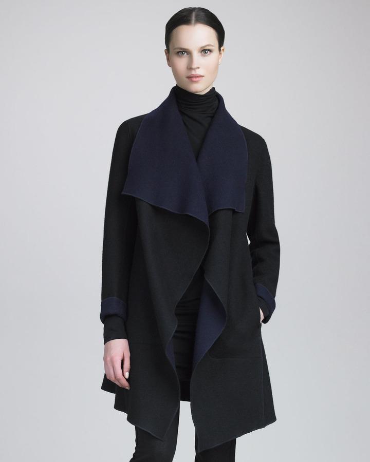 Donna Karan Reversible Cascading Coat