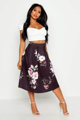 boohoo Dark Floral Box Pleat Midi Skirt