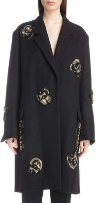 Dries Van Noten Embellished Wool Blend Coat