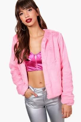 boohoo Alana Crop Faux Fur Coat