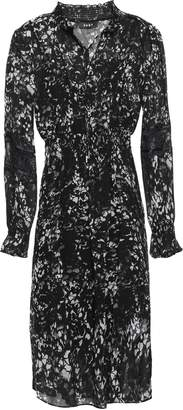 DKNY Lace-trimmed Shirred Printed Georgette Dress