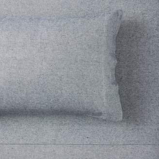 Pottery Barn Teen Heathered Organic Flannel Sheet Set, Extra Pillowcases, Set of 2, Faded Navy