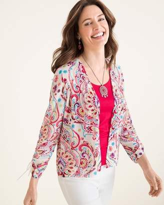 Chico's Chicos Multi-Colored Printed Ruched-Sleeve Cardigan