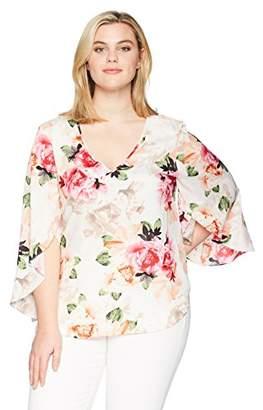 Calvin Klein Women's Plus Size V NCK W Split Sleeve