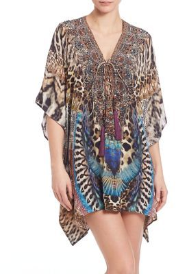 Camilla Camilla Embellished Silk Lace-Up Caftan